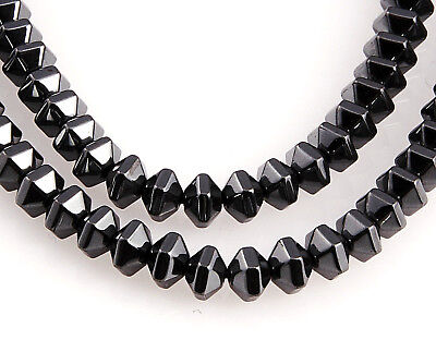 BLACK~BICONE~FACETED~NON MAGNETIC~HEMATITE BEADS~CHOOSE QUANTITY~ 6 x 4 MM