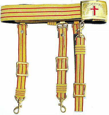 KNIGHTS TEMPLAR GOLDEN & RED Sword Belt & Buckle Sir Knight  Waist Size 40