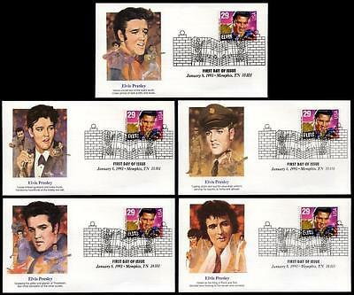 2721 Elvis Presley FDC Issue Fleetwood Set of Five Different Cachets Unaddressed
