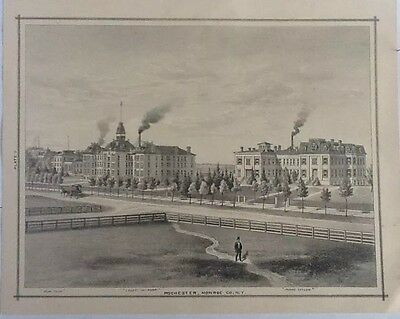"""""""County Infirmary"""" Rochester, Monroe Co., N.Y., 11 X 14 Single Engraved Print."""