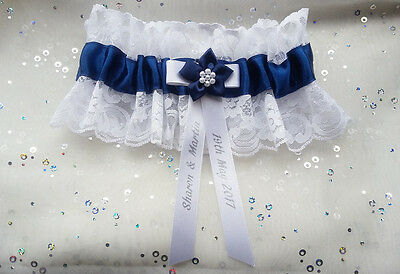 Personalised Navy Blue Satin White Lace Poinsettia Wedding Bridal Brides Garter