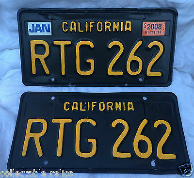 USA Number Plates Old California Black Yellow Vintage Licence Registration Car R