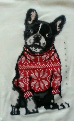 Ann Taylor LOFT FRENCH BULLDOG Frenchie Dog Christmas Sweater NWT Size M Medium