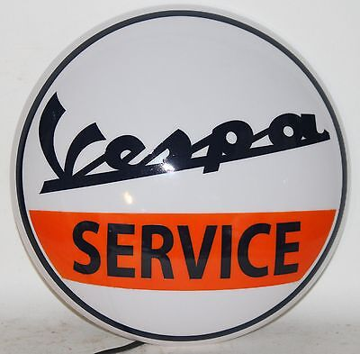 VESPA SERVICE button round wall light sign motorcycle motorscooter lamp garage
