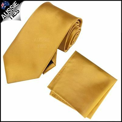 Classic Gold Mens Tie with Matching Pocket Square Handkerchief Hanky Men's