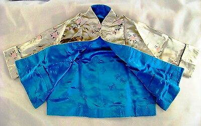 Custom Made Kimono Jacket Embroidered Beige Silk w/Deep Sea Teal Lining, $225.00