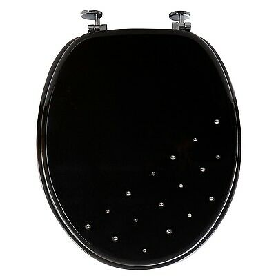 Black Diamante Bathroom Toilet Seat Wc Wooden Chrome Plated Hinges New