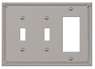 Imperial Bead Brushed Nickel 2 Toggle / 1 Gfi Rocker Combo Switchplate Wallplate
