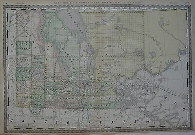 Original 1888 Map MANITOBA Railroads Telegraph Lines Towns + Place-Name Index