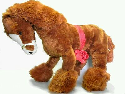 Dollcraft Stuffed Plush Vintage Brown Clydesdale Draft Horse Large 27in Made USA