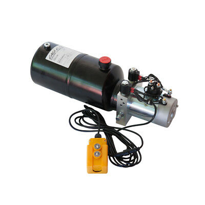 Hydraulic Double Acting Pump 12V DC - 6 Quart Steel Reservoir