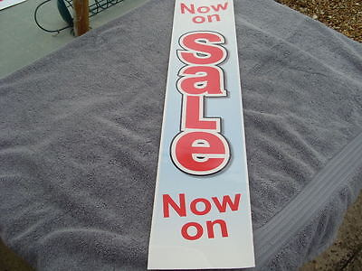 SALE Signs Vertical Poster Banner Self Cling Vinyl Re-Usable RED