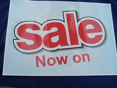 SALE Signs Poster Banner Self Cling Vinyl Re-Usable RED