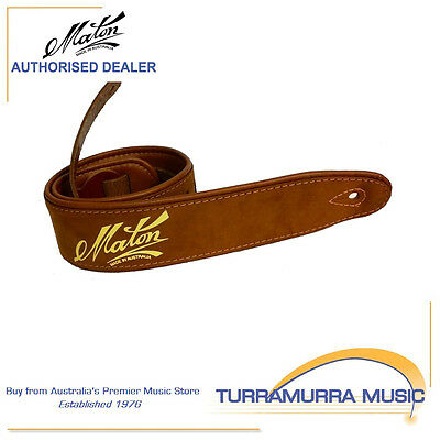 Maton Deluxe Padded Two-Toned Guitar Strap - Brown Leather