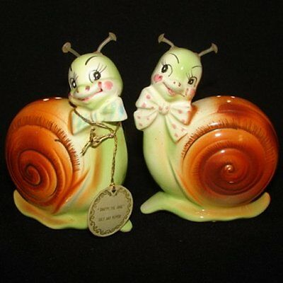 Vintage Enesco Snappy Snail Salt and Pepper Shakers with Tag