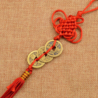 Handmade Chinese Knot Feng Shui Lucky Coins Hanging Ornament Home Car Decor 1pc