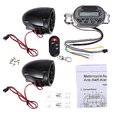 Anti-Theft Motorcycle Alarm Guard Stereo MP3 Player Speaker Support FM Radio