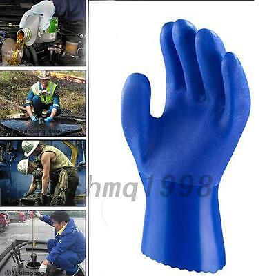 Blue Pair PVC Rubber Working Gloves Acid Alkaline Oil Chemical Proof Industry
