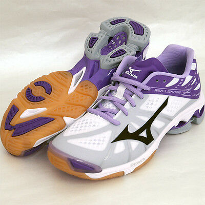 Mizuno Japan Men's WAVE LIGHTNING Z Lo Volleyball Shoes V1GA1500 White Purple
