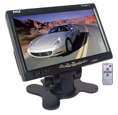 """NEW Pyle PLHR77 7"""" Wide Screen LCD Video Monitor w/Headrest Shroud and Stand"""