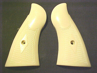 Smith Wesson N-Frame Checkered Bonded Ivory Grips Square-Butt Beautiful! SWEET!