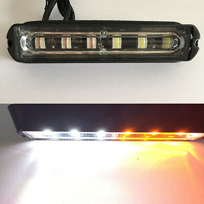 6 LED Car Truck Trailer RV Emergency Light Bar Hazard Strobe Warning White Amber