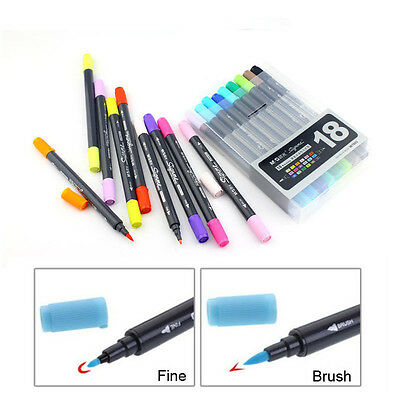 Art and Graphic Drawing Manga Twin Tip Brush Sketch Marker Pen 12 18 24 Colors