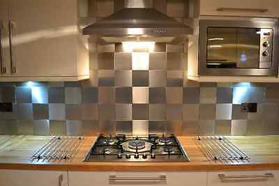 STAINLESS STEEL WALL / KITCHEN SPLASH BACK TILES 148mm (Approx 6 inch x 6 inch)