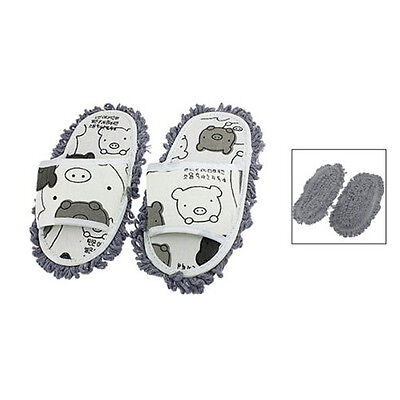 Home Pair Dust Floor Cleaning Mopping Slippers Shoes White/Dark Gray Color PK