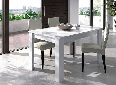 Mesa de comedor o salón rectangular extensible color blanco brillo