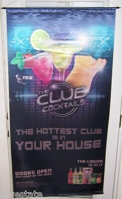 The Club Cocktails  Big Satin Advertising Banner  Sign