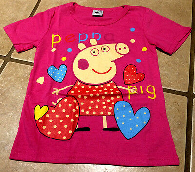 NWT Girls Peppa Pig Pink Hearts Graphic Tee Top Sizes  3T 4T 5T 6 Birthday Gift