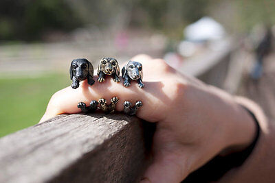 Antique Silver Dachshund Adjustable Animal Ring Dog Finger Wrap Jewelry AR-45