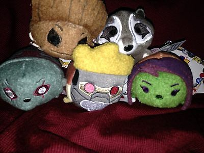 """Disney Store Authentic Tsum Tsum Guardians of the Galaxy Set Mini 3 1/2""""  Groot"""