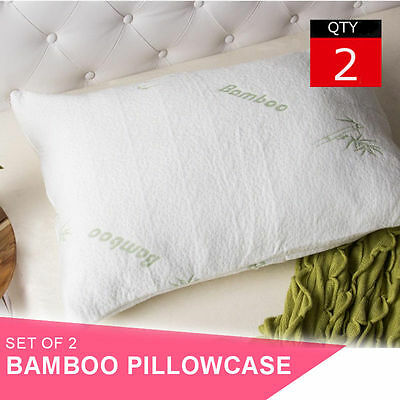 2x Bamboo Pillow Cover Cases 70cm x 50cm
