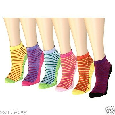 New Lot 12 Pairs Womens Ankle Socks Multi Color Size 9-11 Stripe Cotton Fashion