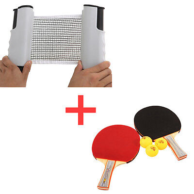 Table Tennis Ping Pong Retractable Net White + Racket Paddle Bat Two Sides Set