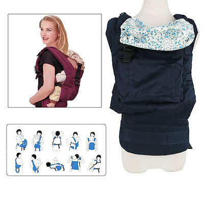 Ergonomic Baby Carrier Infant Sling Toddler Backpack Front Back Breathable Blue