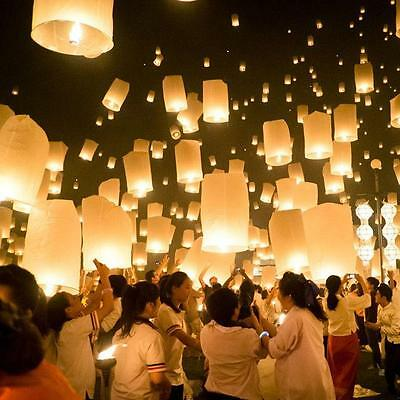 1/10Pcs Chinese KongMing Sky Flying Lanterns Fire Light Wedding Wishing Lamp UK