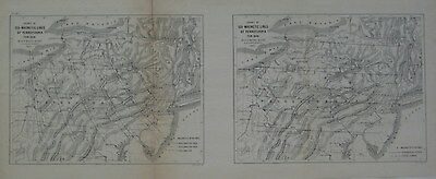 Original 1862 USC&GS Survey Maps PENNSYLVANIA Isogonic Lines Magnetic Variation