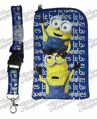 Minions Detachable Lanyard Zipper Wallet ID Pouch and Phone Holder [Royal Blue]