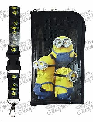 Minions Detachable Lanyard Zipper Wallet ID Pouch and Phone Holder [Black]