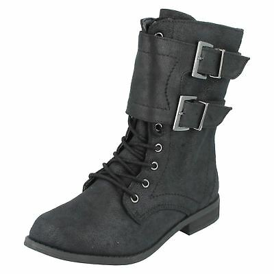 Girls H5025 Black textile lace up/zip up boots by spot on Sale £9.99