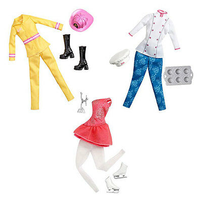 3 Mattel Barbie Career Fashions Pastry Chef Ice Skater Fire Fighter New 2014