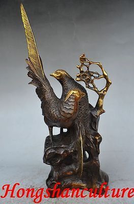 Collectible Chinese Copper Gilt Gold Old Handwork Bird Statues