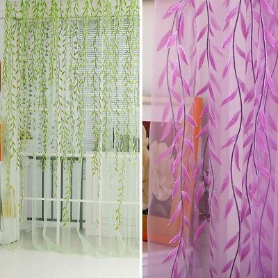 Beauty Room Leaf Pattern Voile Window Curtain Sheer Panel Drapes Scarfs