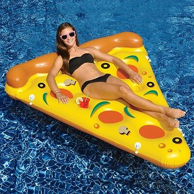 AU Summer Swimming Lounge Pool Kids Child Rideable Pizza Inflatable Float Toy