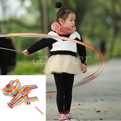 1X Colorful New 4M Dance Ribbon Art Gymnastic Rhythmic Twirling Rod Girl Gift