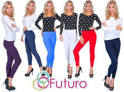 Thick Warm Classic Plain Cotton Full Length Leggings All Colours and Sizes UK
