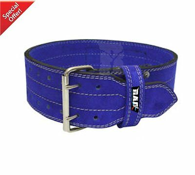 2Fit BluE Leather Power Weight Lifting Belt Bodybuilding GYM Training Support